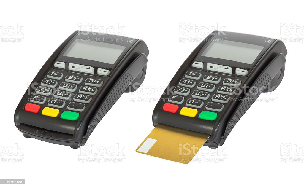 Card reader machine on white background stock photo