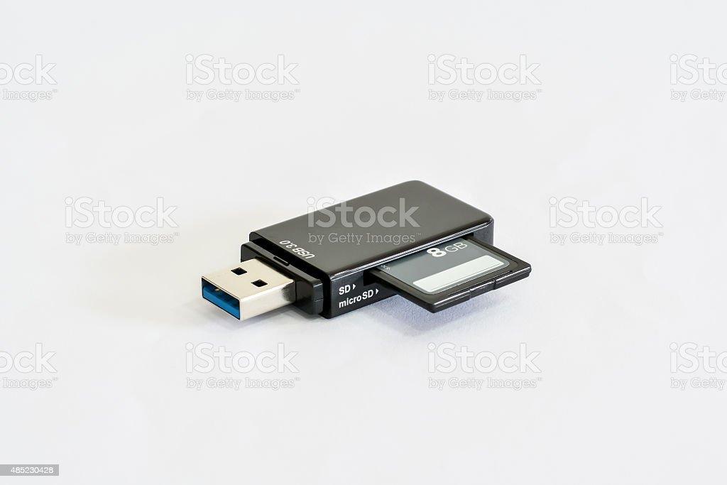 USB Card Reader On White Background stock photo