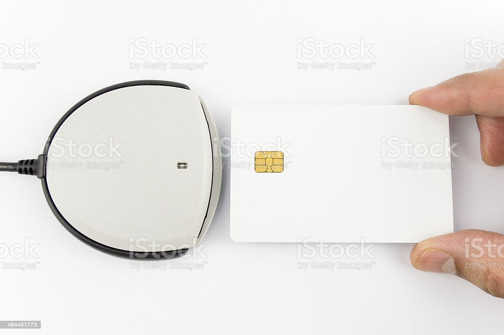 card reader with copy space stock photo