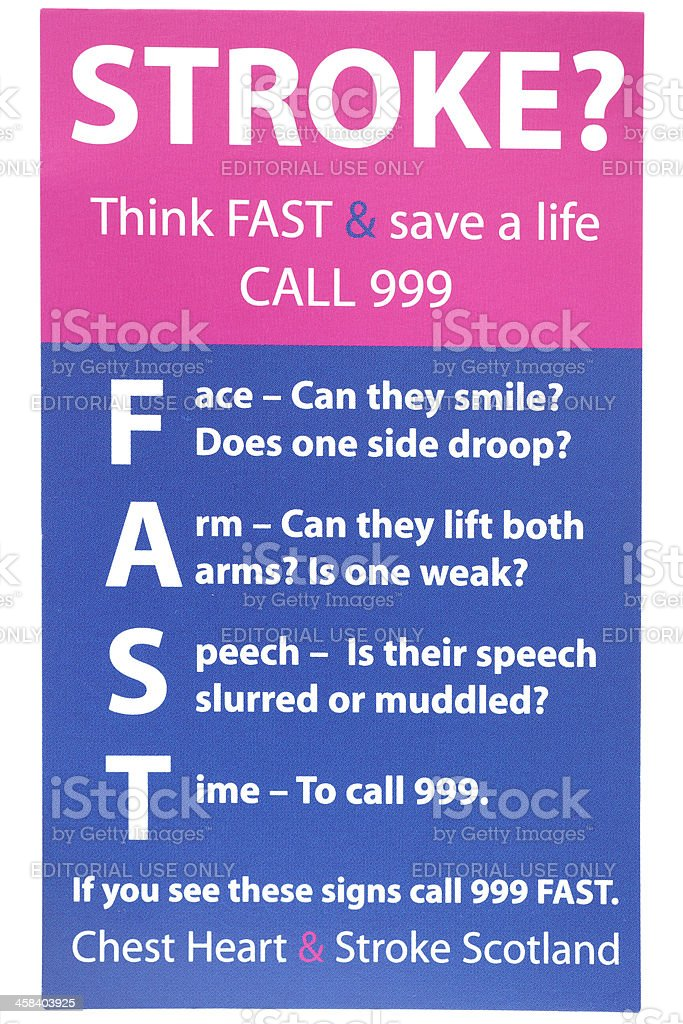 Card to help people recognise symptoms of a Stroke stock photo