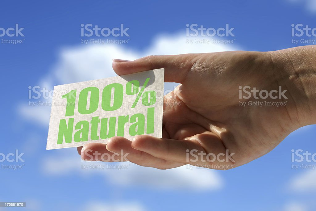 card with 100% natural inscription royalty-free stock photo