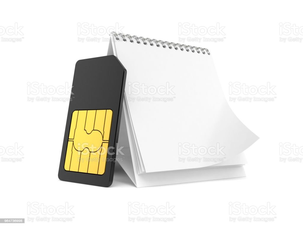 SIM card with blank calendar royalty-free stock photo