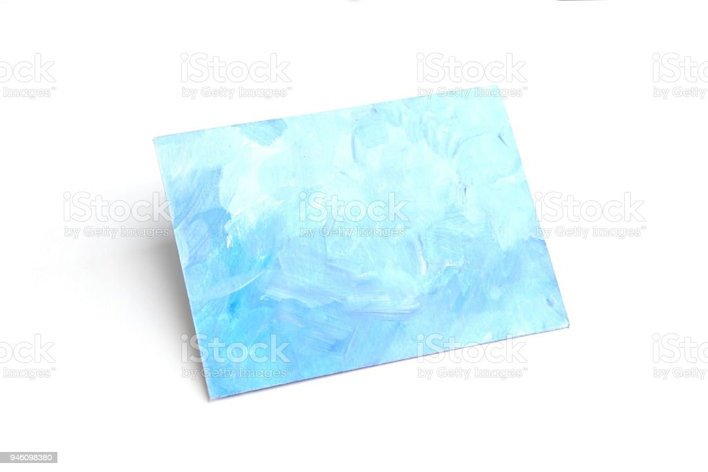 Card with blue painting background isolated on white. stock photo