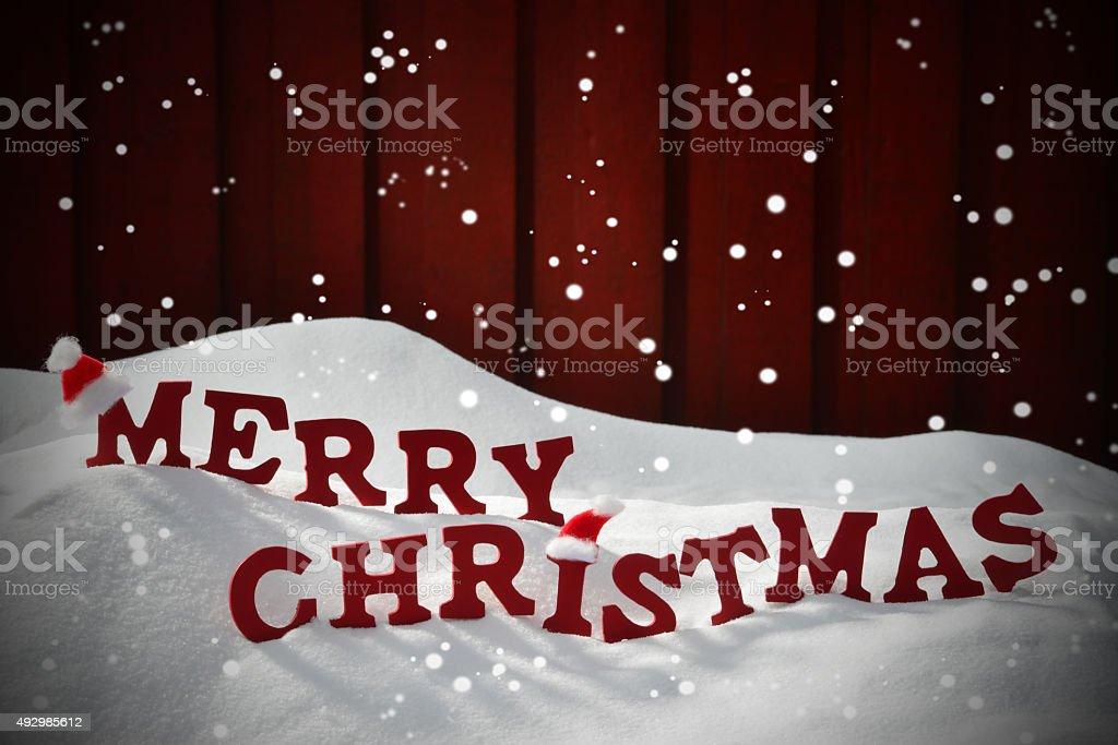 Buchstaben Frohe Weihnachten.Karte Mit Roten Buchstaben Frohe Weihnachten Schnee Schneeflocken