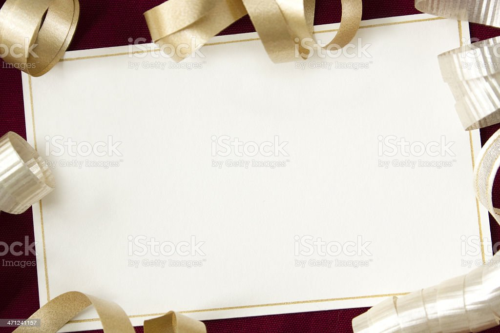 Card with ribbons. stock photo