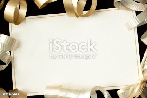 Blank card with ribbons and bow.