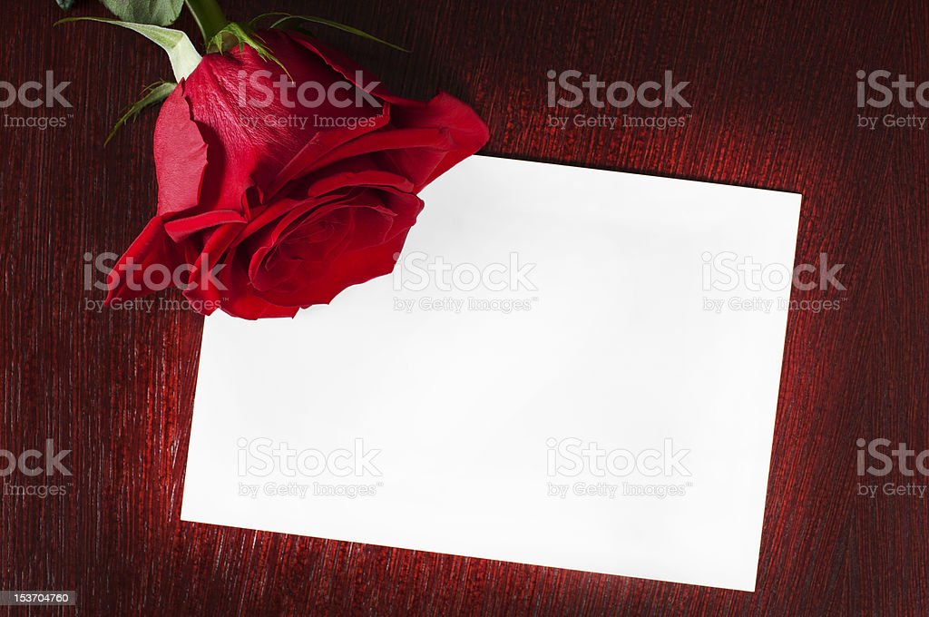 card with rose on the table royalty-free stock photo