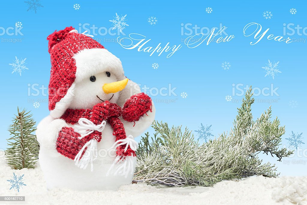 40c80f04c111a card with Snowman. concept New Years with inscription royalty-free stock  photo