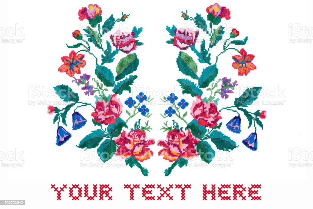 Card with space for text. Embroidered flowers on white background stock photo