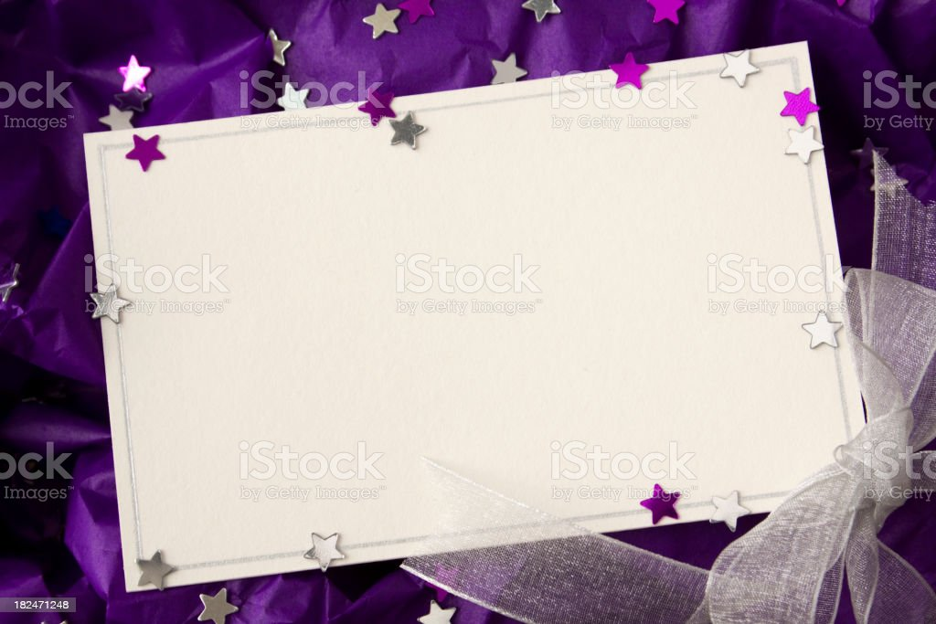 Card with stars. stock photo