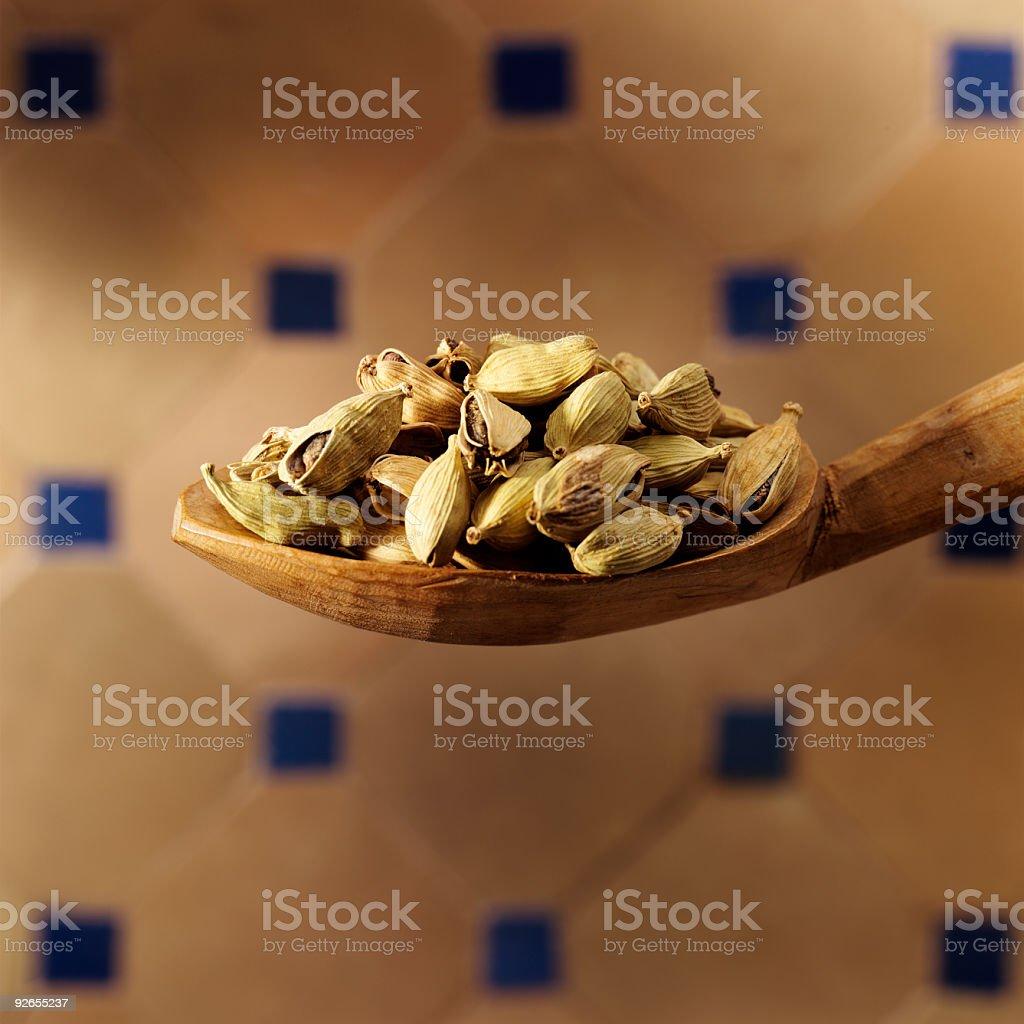 cardamom on spoon royalty-free stock photo