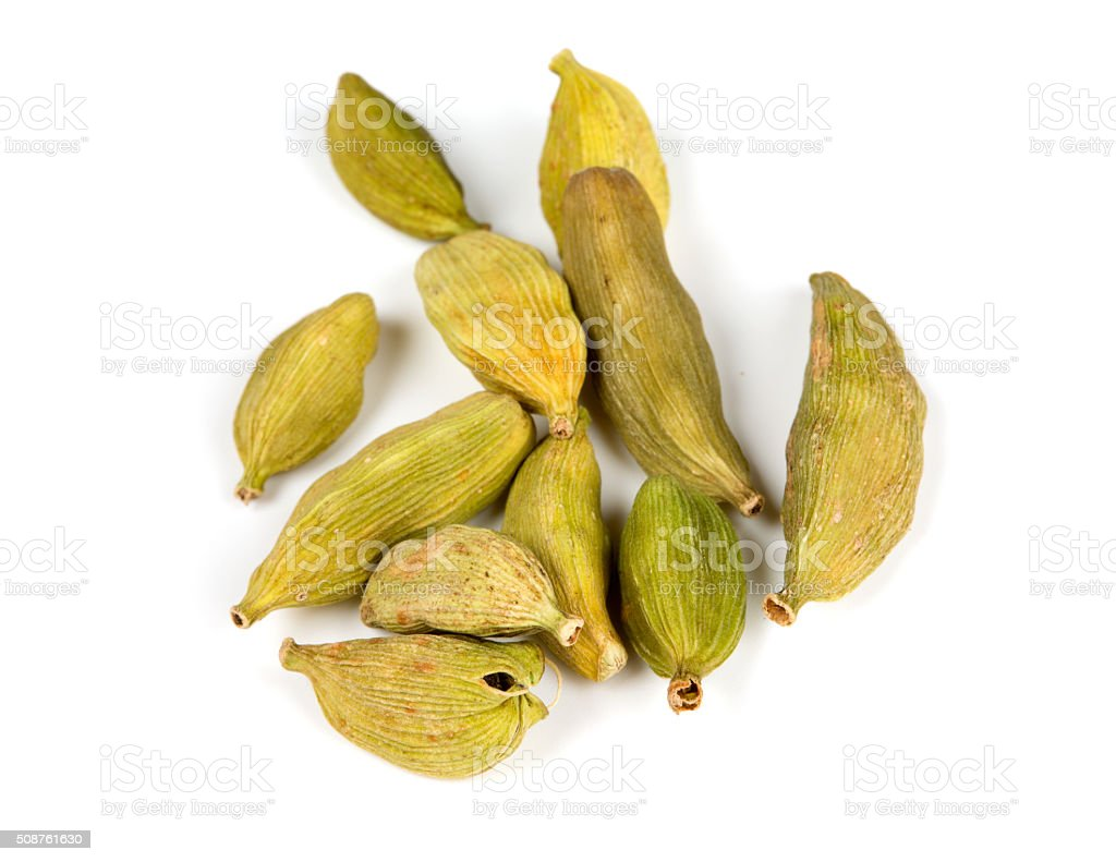 cardamom pods isolated on white stock photo