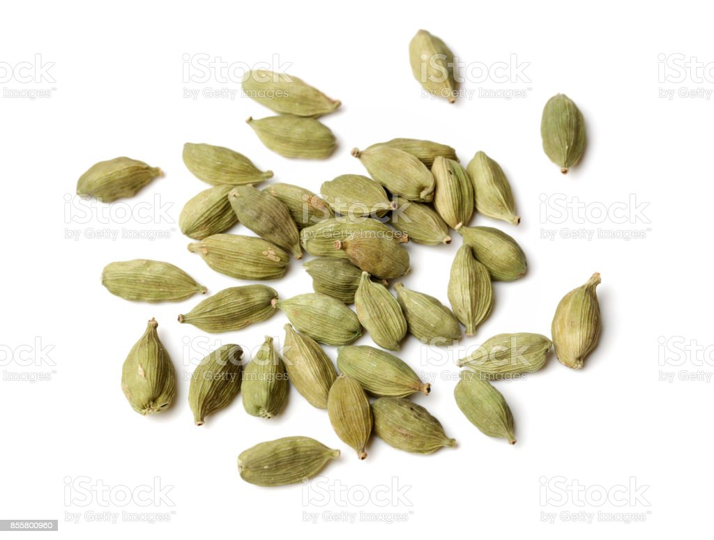 Cardamom seeds isolated on white background stock photo