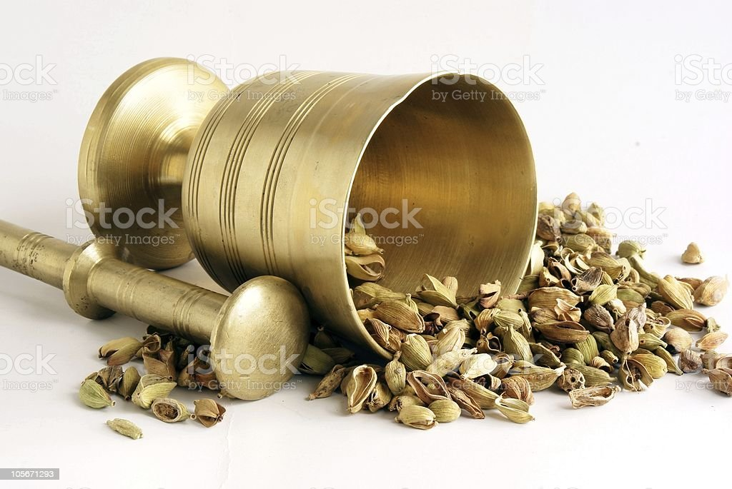 cardamon grains and montar royalty-free stock photo