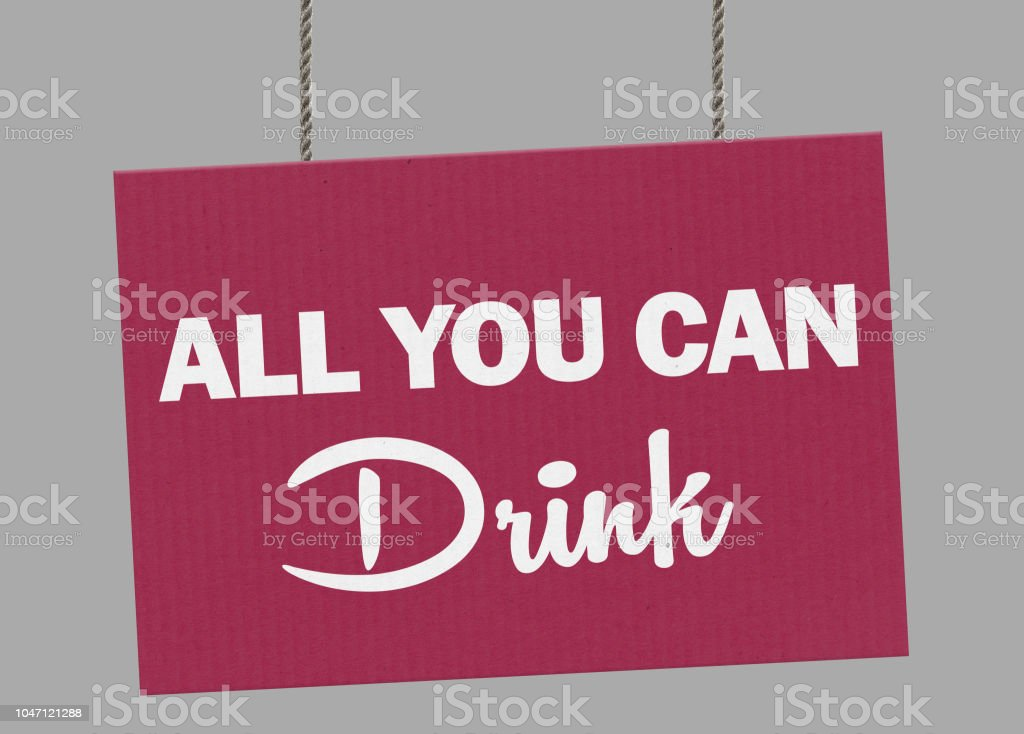Cardboard all you can drink sign hanging from ropes. Clipping path included so you can put your own background. stock photo