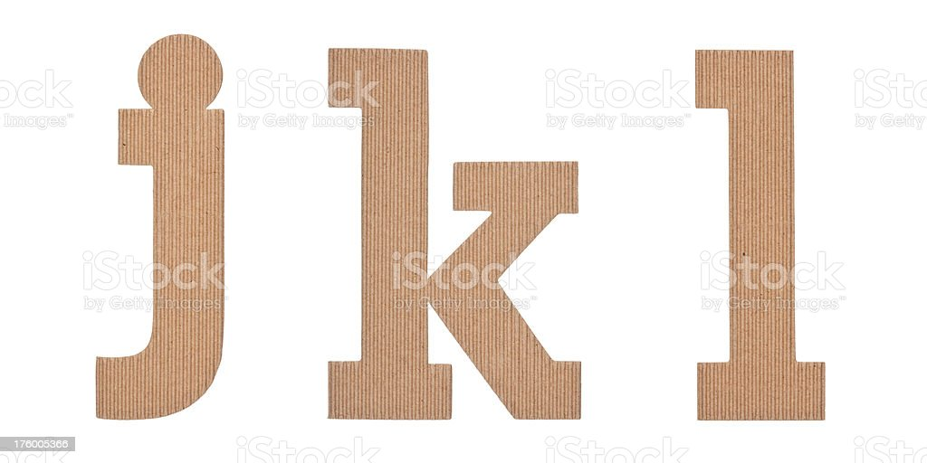 cardboard alphabet JKL royalty-free stock photo