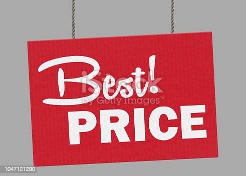 istock Cardboard best price sign hanging from ropes. Clipping path included so you can put your own background. 1047121290