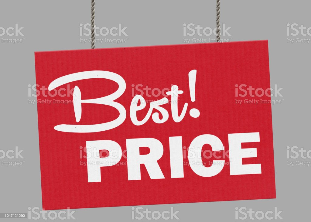 Cardboard best price sign hanging from ropes. Clipping path included so you can put your own background. stock photo