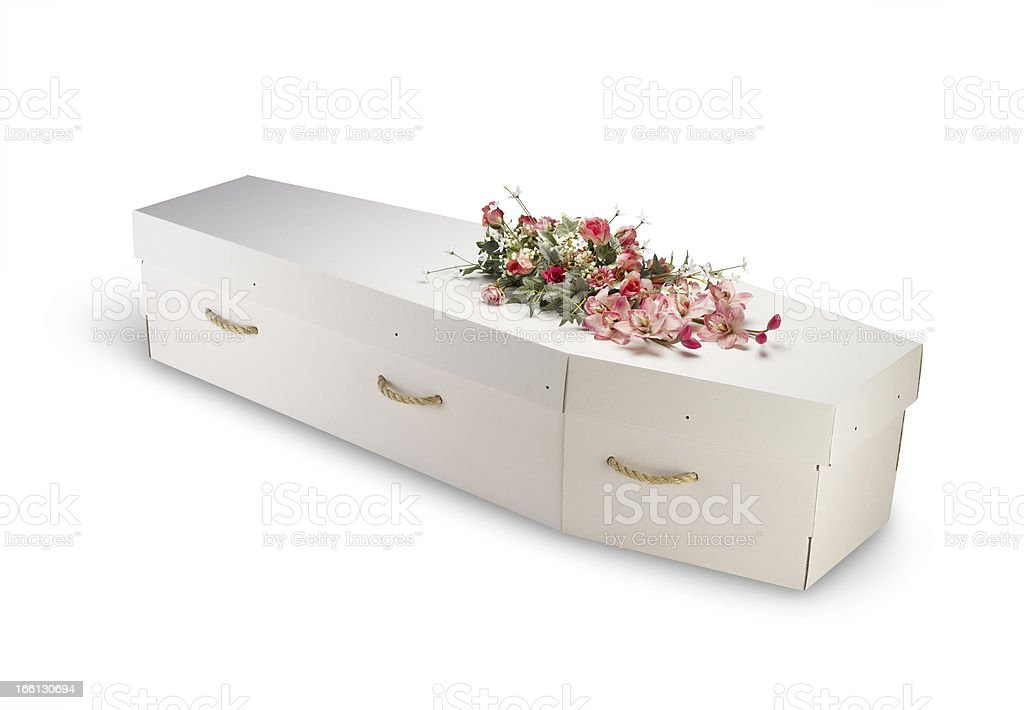 cardboard bio-degradable eco coffin isolated on white with clipping path stock photo