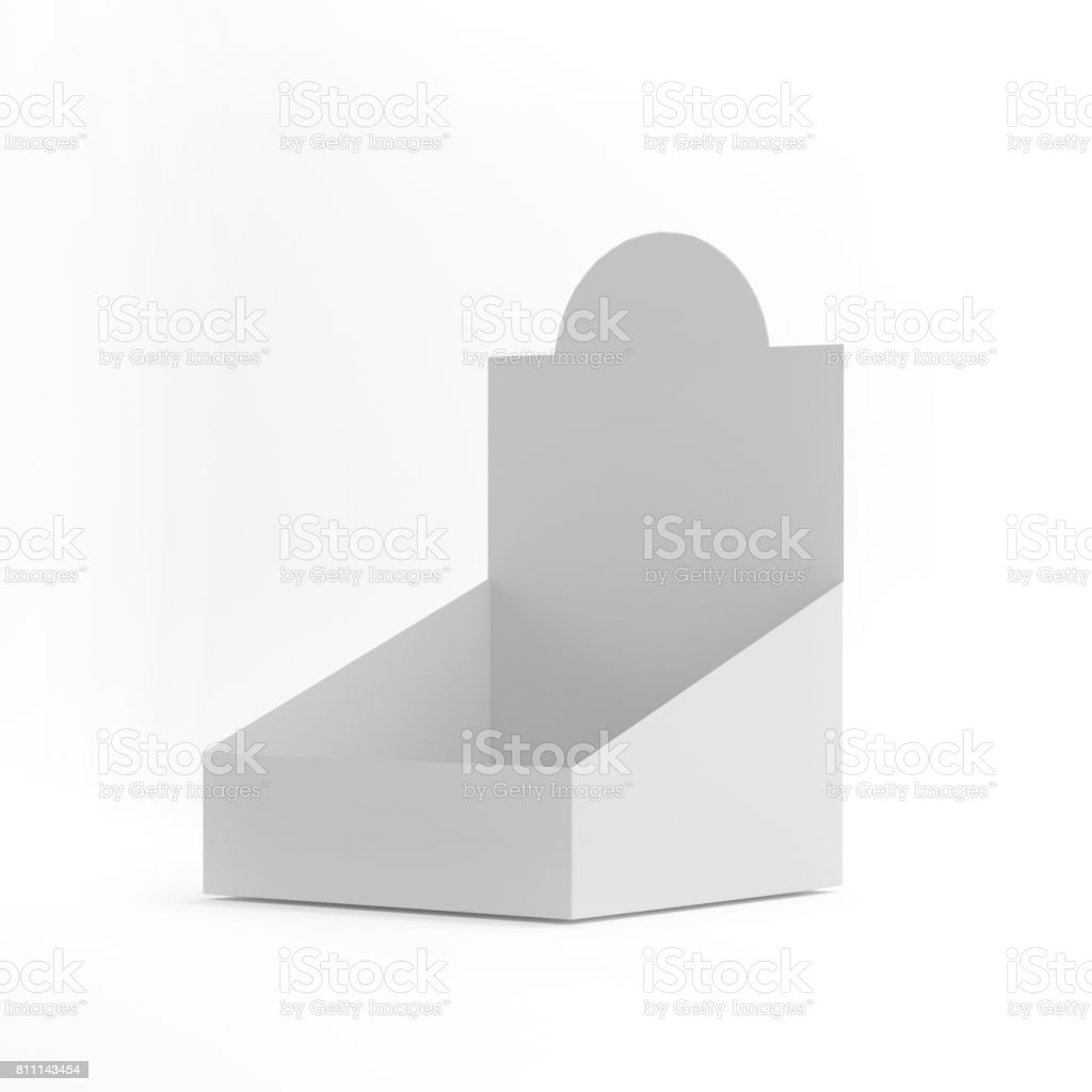POS POI Cardboard Blank Empty Display Show Box Holder For Advertising, Leaflets, Products Mock Up Template On Isolated White Background. Ready For Your Design. 3D Illustration stock photo