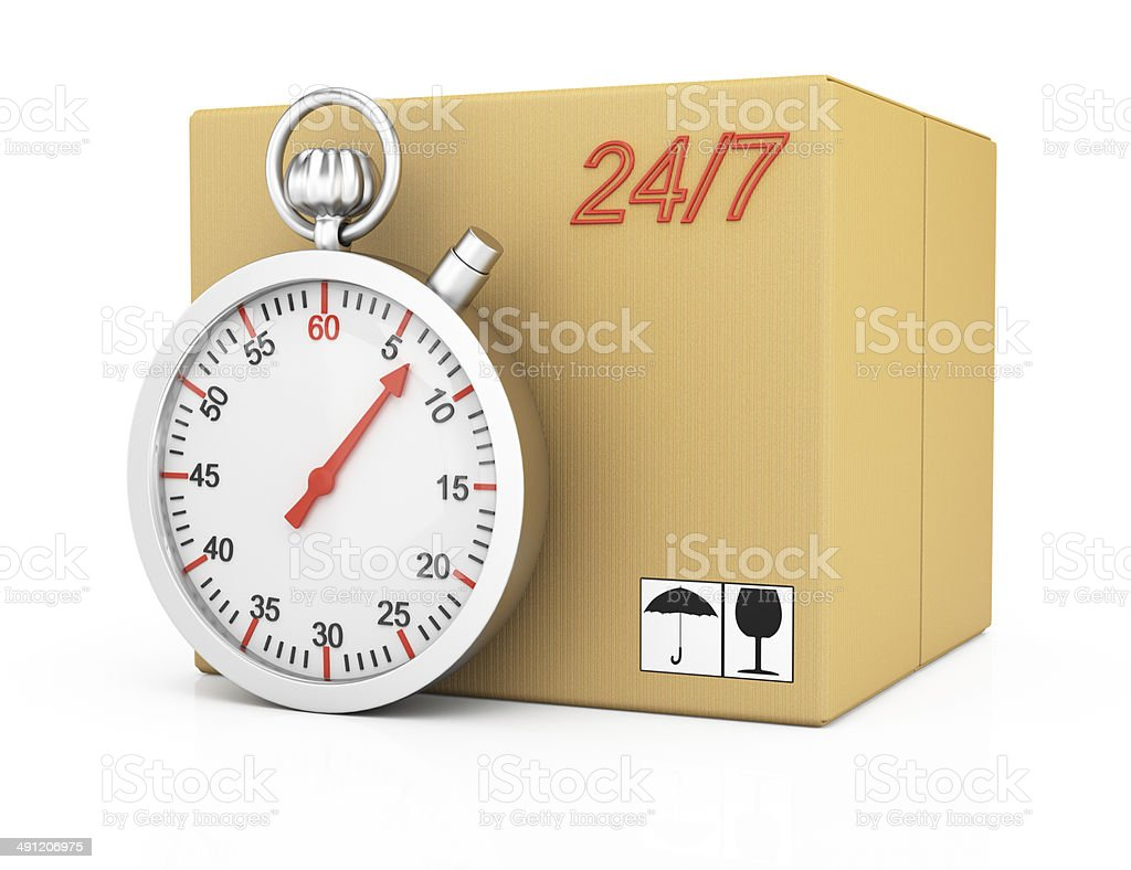 Cardboard box and stopwatch royalty-free stock photo