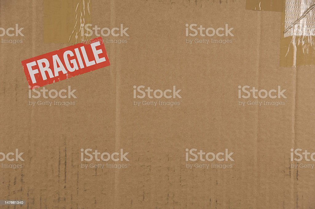 Cardboard Box Background with Fragile royalty-free stock photo