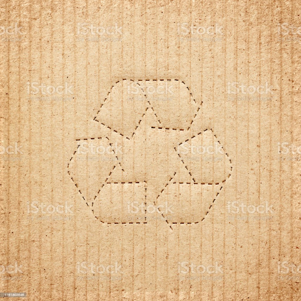 Cardboard box background with recycle symbol - Royalty-free Abstract Stock Photo