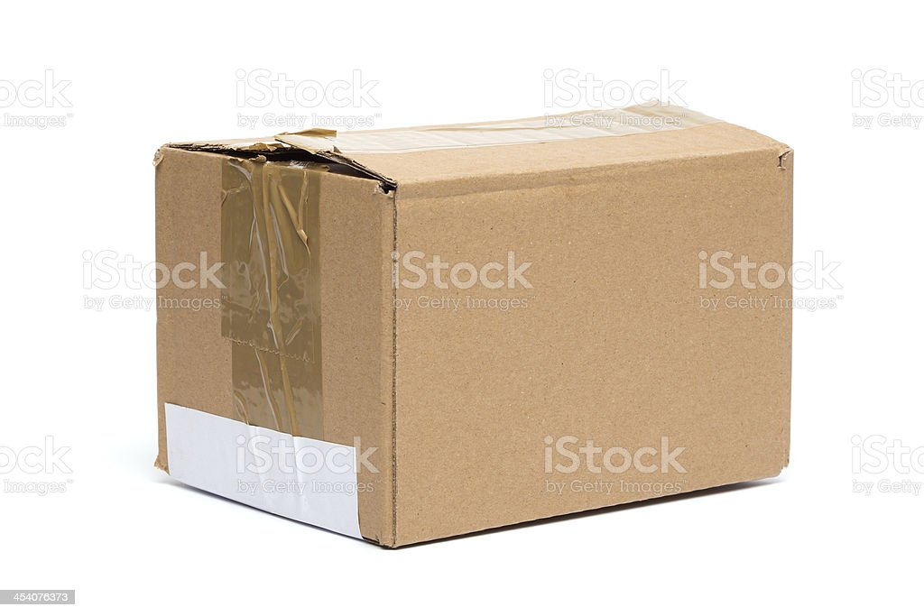 Cardboard Box, Closed, Isolated on White royalty-free stock photo