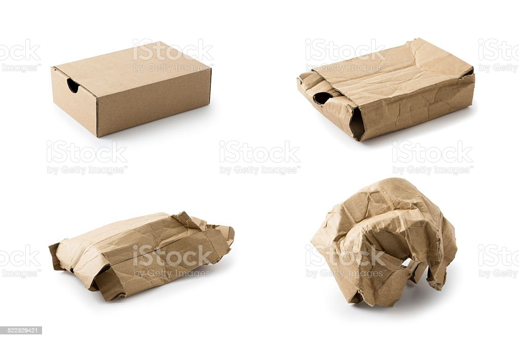 Cardboard box collection stock photo
