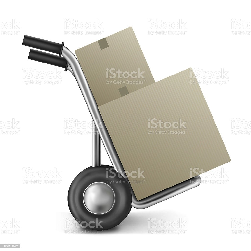 cardboard box hand truck royalty-free stock photo