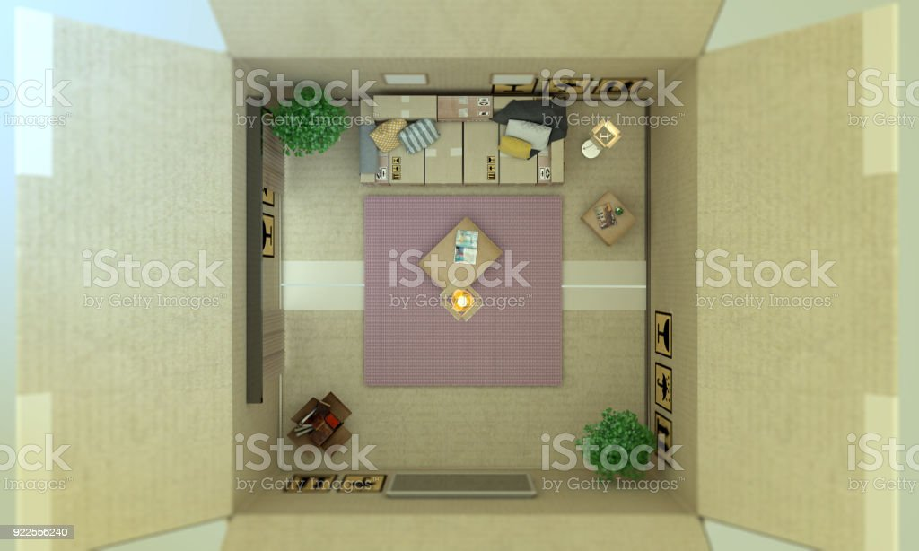 Cardboard Box Home Interior Top View Stock Photo More Pictures Of