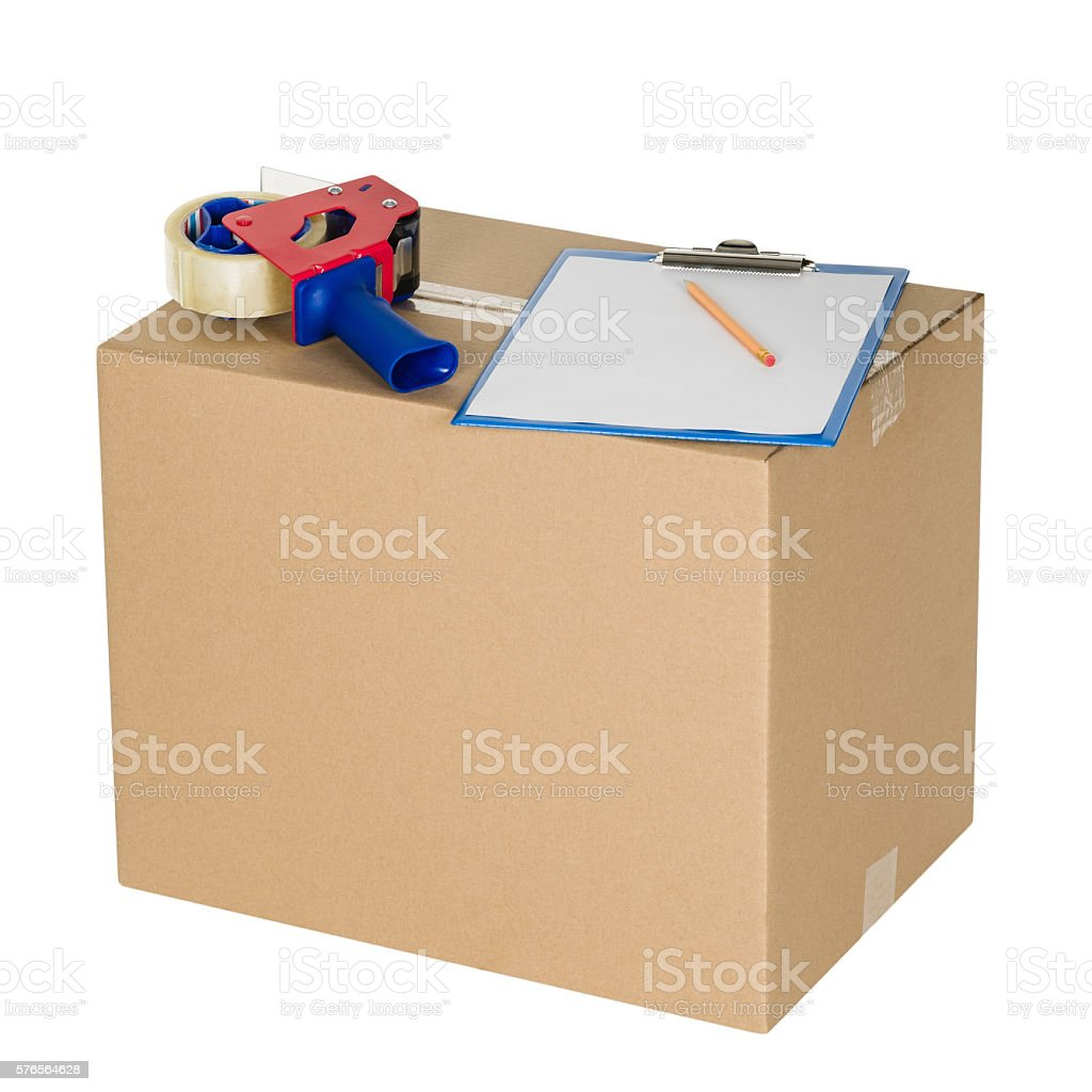 cardboard box isolated on white seamless background stock photo