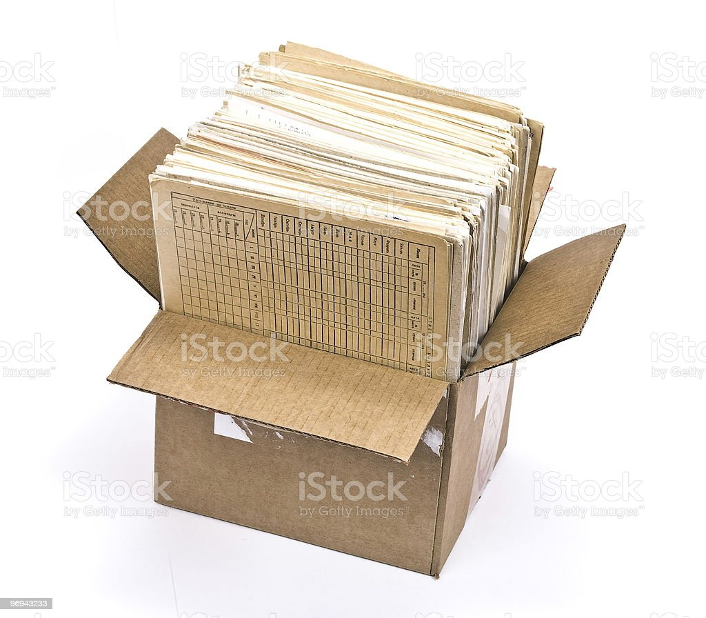 Cardboard box of document royalty-free stock photo