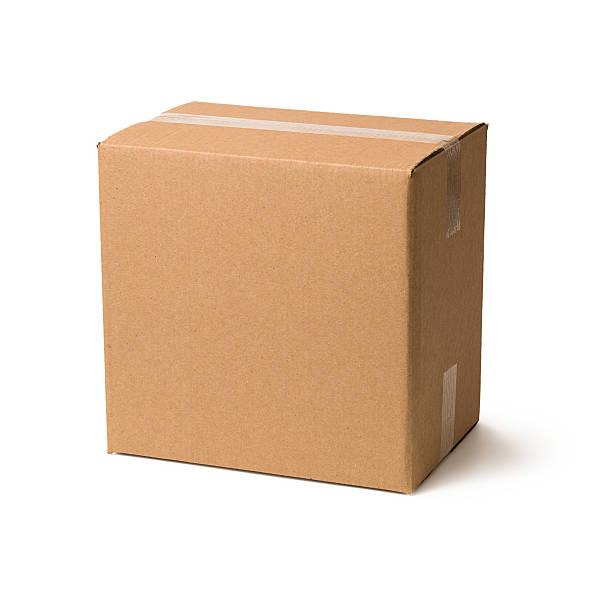 cardboard box on white background - kartonnen verpakking stockfoto's en -beelden
