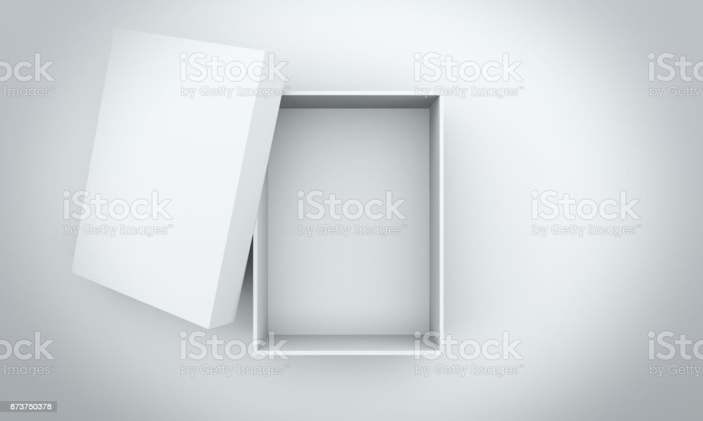 Cardboard box on white table top view 3d render stock photo