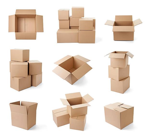 cardboard box package moving transportation delivery stok fotoğrafı