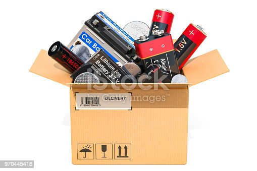 Cardboard box, parcel with different batteries. 3D rendering isolated on white background