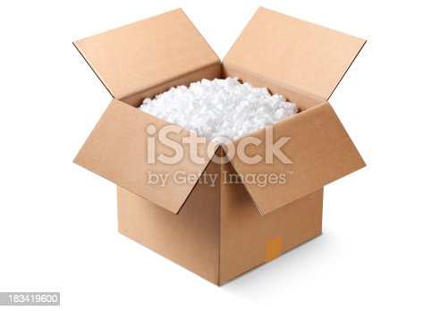 Cardboard box filled with styrofoam peanuts. Similar photographs from my portfolio: