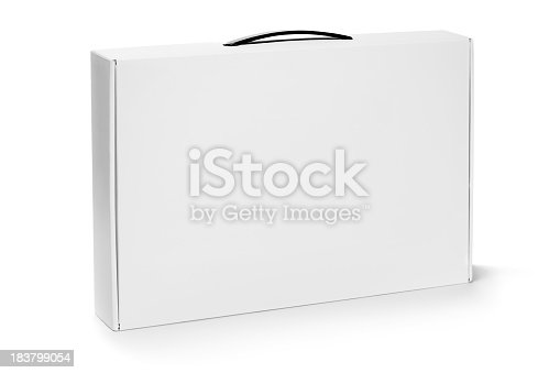 White cardboard packaging like a briefcase