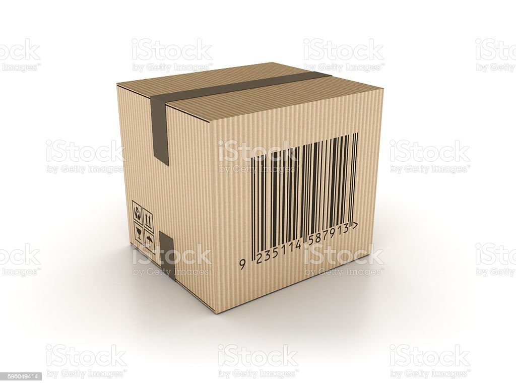Cardboard Box with Bar Code Stamp royalty-free stock photo
