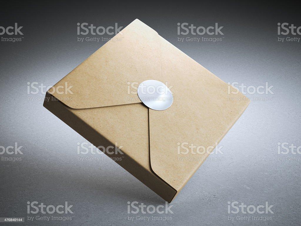 cardboard box with blank sticker stock photo