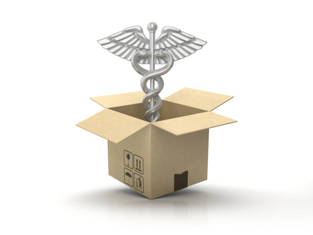 pappkartong med caduceus symbol-3d-rendering - sjukvårdsrelaterat material bildbanksfoton och bilder