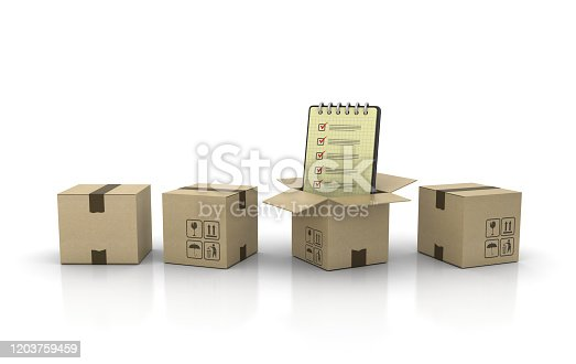 537516368 istock photo Cardboard Box with Check List Note Pad - 3D Rendering 1203759459