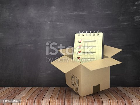 537516368 istock photo Cardboard Box with Check List Note Pad on Wood Floor - Chalkboard Background - 3D Rendering 1124265470