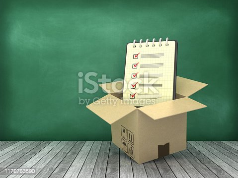 537516368 istock photo Cardboard Box with Check List Note Pad on Wood Floor - Chalkboard Background - 3D Rendering 1176763890
