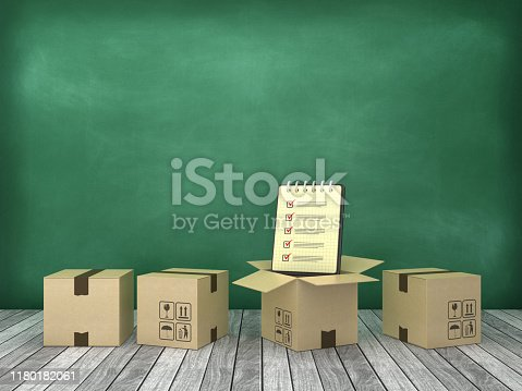 628418378 istock photo Cardboard Box with Check List Note Pad on Wood Floor - Chalkboard Background - 3D Rendering 1180182061