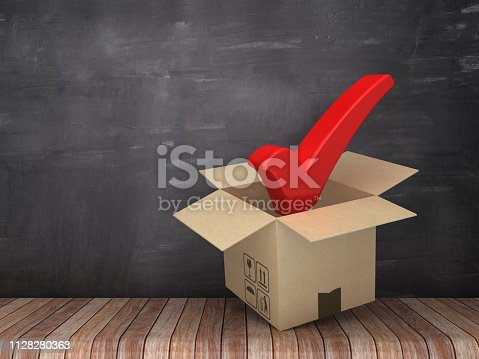 537516368 istock photo Cardboard Box with Check Mark on Wood Floor - Chalkboard Background - 3D Rendering 1128280363