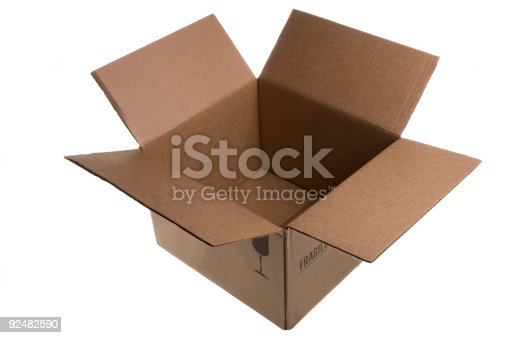American style cardboard box, empty, with fragile written on it, on white background. Lots of copy space. Shot with a Canon EOS 5D MK 2 and Canon 70-200 F2.8 lens.