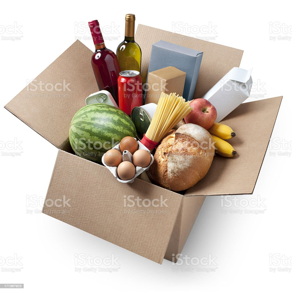 Cardboard box with groceries stock photo