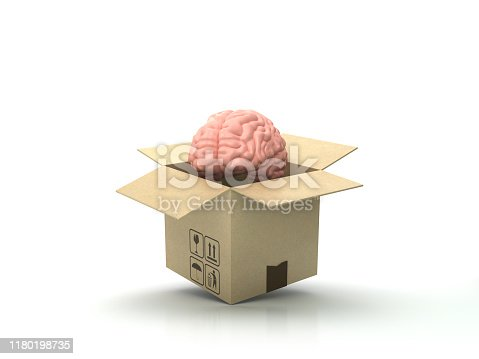 istock Cardboard Box with Human Brain - 3D Rendering 1180198735